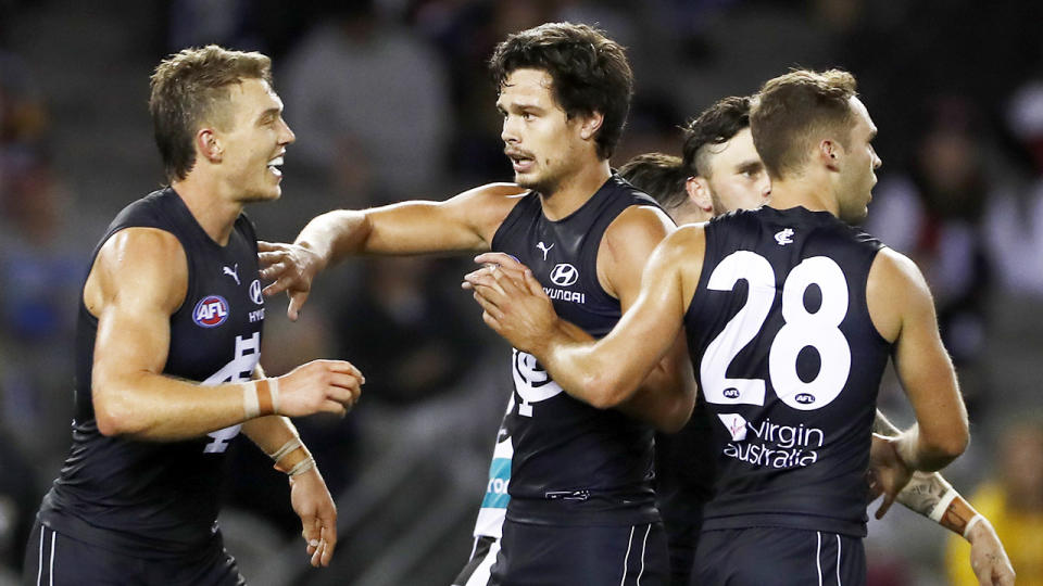 Jack Silvagni, pictured here in action for Carlton against St Kilda.
