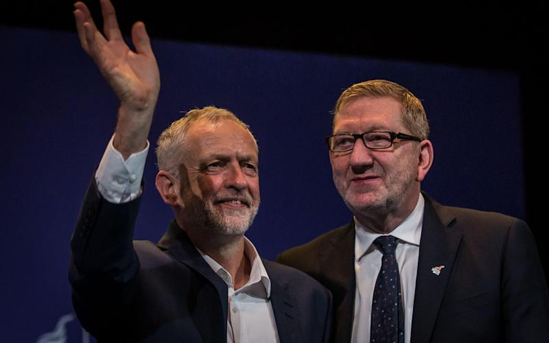 Jeremy Corbyn with Len McCluskey - 2016 Getty Images