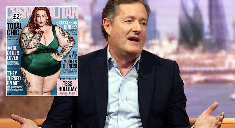 Piers Morgan has reignited his feud with Tess Holliday [Photo: Getty/Instagram/Cosmopolitan]