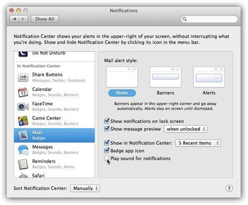 Mac Notifications page