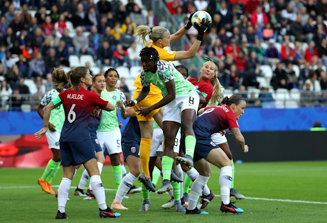 Ingrid Hjelmseth of Norway catches the ball during the 2019 FIFA Women's World Cup France group A match between Norway and Nigeria at Stade Auguste Delaune on June 08, 2019 in Reims, France. (Photo by Robert Cianflone/Getty Images)