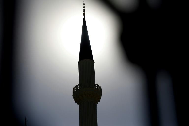 A minaret of the Hala Sultan mosque in the self-proclaimed Turkish Republic of Northern Cyprus, on July 5, 2018