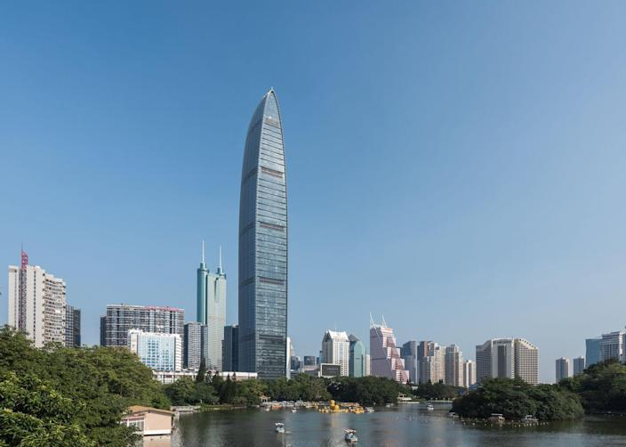 <p><strong>Location:</strong> Shenzhen, China</p><p><strong>Height:</strong> 1,449 feet</p><p><strong>Completion Date:</strong> 2011</p><p>The Kingkey, or KK100, is the jewel of the Shenzhen, a major manufacturing metropolis just north of Hong Kong. The building's distinctive, transparent, glassed-over top portion hosts a restaurant and mall.</p>