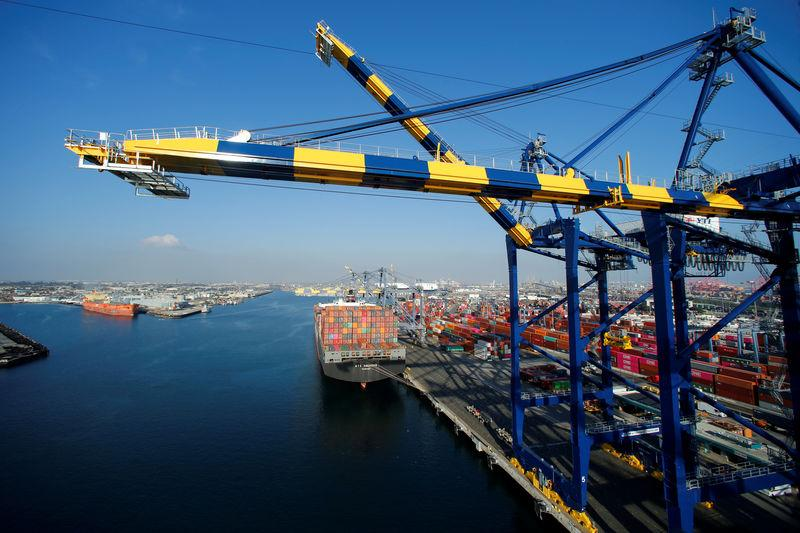 FILE PHOTO: A ship loaded with containers is pictured at Yusen Terminals on Terminal Island at the Port of Los Angeles
