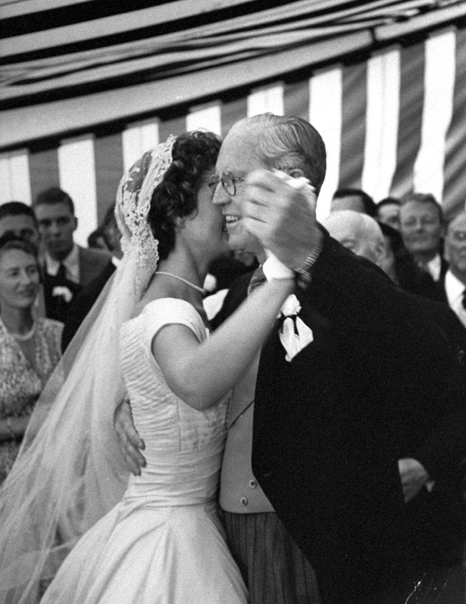 <p>The bride shared a dance with her father-in-law.</p>