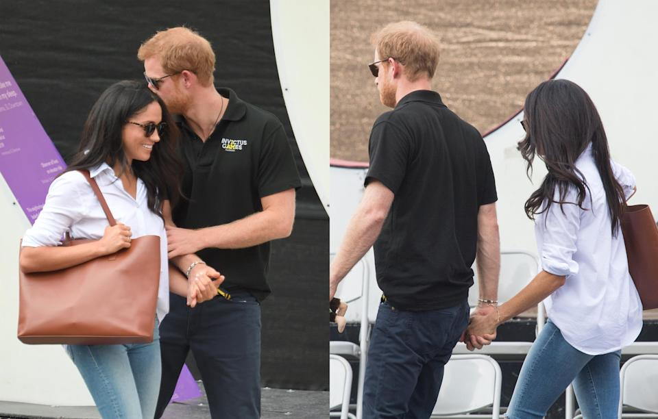 <p>The couple were spotted leaving the match hand in hand with no care in the world about showing a little PDA.<br><i>[Photo: Getty]</i> </p>