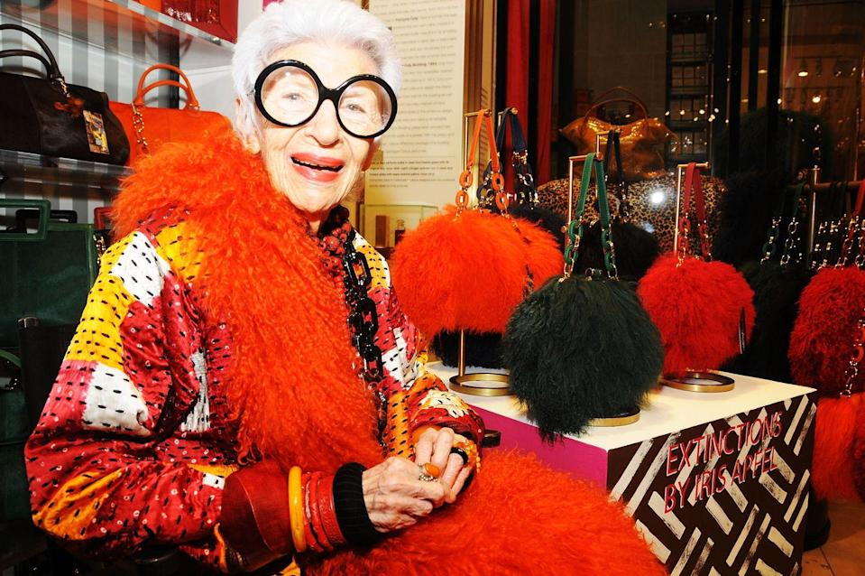 "<p>Fashion icon <a href=""https://www.harpersbazaar.com/culture/features/a10313/iris-apfel-0415/"" rel=""nofollow noopener"" target=""_blank"" data-ylk=""slk:Iris Apfel"" class=""link rapid-noclick-resp"">Iris Apfel</a> is known for her bold style, full of bright colors, loads of jewelry, and plenty of prints. But the one accessory that's become her trademark? Those oversized, black-rimmed glasses. </p>"