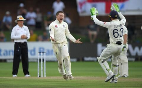 England bowler Dom Bess celebrates after dismissing batsman Zubayr Hamza during Day Two of the Third Test between South Africa and England at St George's Park on January 17, 2020 in Port Elizabeth, South Africa - Credit: Getty Images