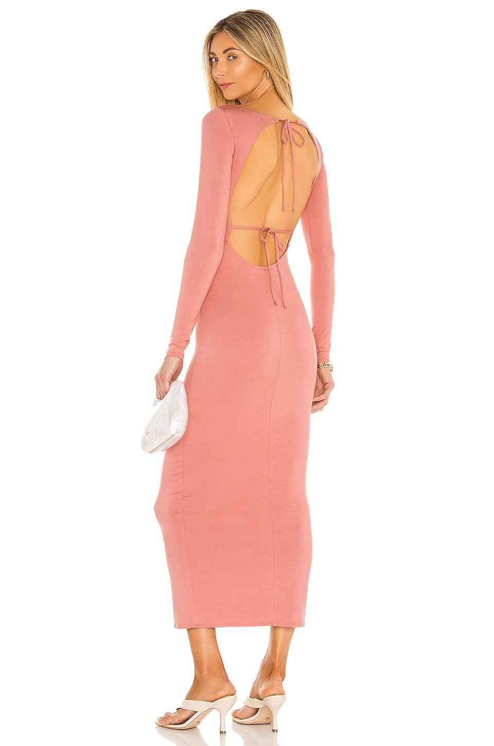 <p>The <span>Lovers + Friends Oaklee Dress in Rose Pink</span> ($78, originally $188) is such a vibe for the fall. The blush pink hue is too cute to handle and the open back adds a sexy touch. </p>