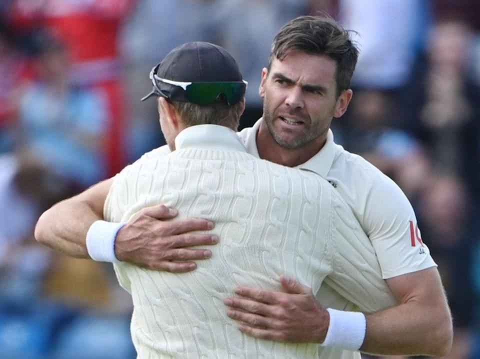 James Anderson celebrates taking the wicket of India's captain Virat Kohli (AFP via Getty Images)