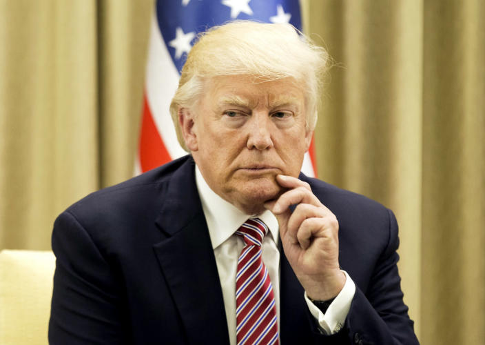 <p>U.S. President Donald Trump gestures during his meeting with the Israeli President at his residence in Jerusalem on May 22, 2017. (Photo: Atef Safadi/AFP/Getty Images) </p>