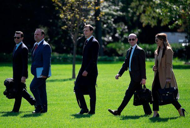 PHOTO: Hope Hicks, far right, is seen walking to Marine One on the White House's South Lawn, Sept. 30, 2020, with fellow presidential aides, left to right, Nicholas Luna, Dan Scavino, Jared Kushner and Stephen Miller. (Andrew Caballero-Reynolds/AFP via Getty Images)