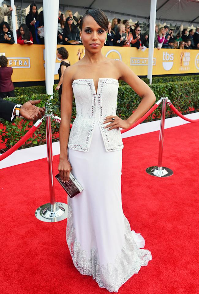 Kerry Washington arrives at the 19th Annual Screen Actors Guild Awards at the Shrine Auditorium in Los Angeles, CA on January 27, 2013.