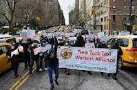 Yellow taxi drivers protesting outside the New York mayor's residence on February 10, 2021