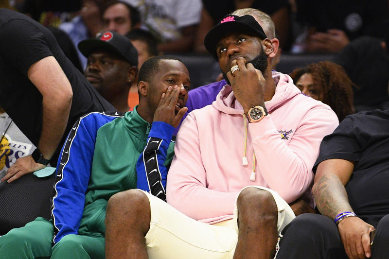 LOS ANGELES, CA - SEPTEMBER 01: Los Angeles Lakers Lebron James and his agent Rich Paul look on during the BIG3 championship game between the Triplets and the Killer 3's on September 1, 2019 at the Staples Center in Los Angeles, CA. (Photo by Brian Rothmuller/Icon Sportswire via Getty Images)