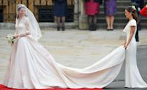 """<p>The day that started the iconic partnership. Sarah Burton designed <a href=""""https://www.townandcountrymag.com/the-scene/weddings/a20517182/kate-middleton-wedding-dress/"""" rel=""""nofollow noopener"""" target=""""_blank"""" data-ylk=""""slk:Kate Middleton's wedding dress"""" class=""""link rapid-noclick-resp"""">Kate Middleton's wedding dress</a> for Alexander McQueen. She also designed Kate's sister, Pippa's bridesmaid's dress. </p>"""
