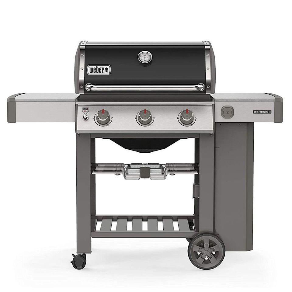 """<p><strong>Weber</strong></p><p>amazon.com</p><p><strong>729.00</strong></p><p><a href=""""https://www.amazon.com/dp/B07H6193C8?tag=syn-yahoo-20&ascsubtag=%5Bartid%7C2089.g.36490432%5Bsrc%7Cyahoo-us"""" rel=""""nofollow noopener"""" target=""""_blank"""" data-ylk=""""slk:Shop Now"""" class=""""link rapid-noclick-resp"""">Shop Now</a></p><p>The Weber Genesis II E-310 is equipped with three high-performance stainless steel burners and porcelain-enameled """"flavorizer bars"""" to make for one of the best grilling experiences you can get. </p><p>It packs 669 square inches of cooking space — enough for 24 burgers. It offers superior performance and a better build quality than competing gas grills.</p>"""