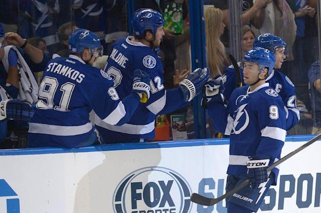Tampa Bay Lightning center Tyler Johnson (9) is congratulated by teammates center Steven Stamkos (91), left wing Ryan Malone (12) and right wing Martin St. Louis, right, after scoring a goal during the first period of an NHL hockey game against the Buffalo Sabres in Tampa, Fla., Saturday, Oct. 26, 2013. (AP Photo/Phelan M. Ebenhack)