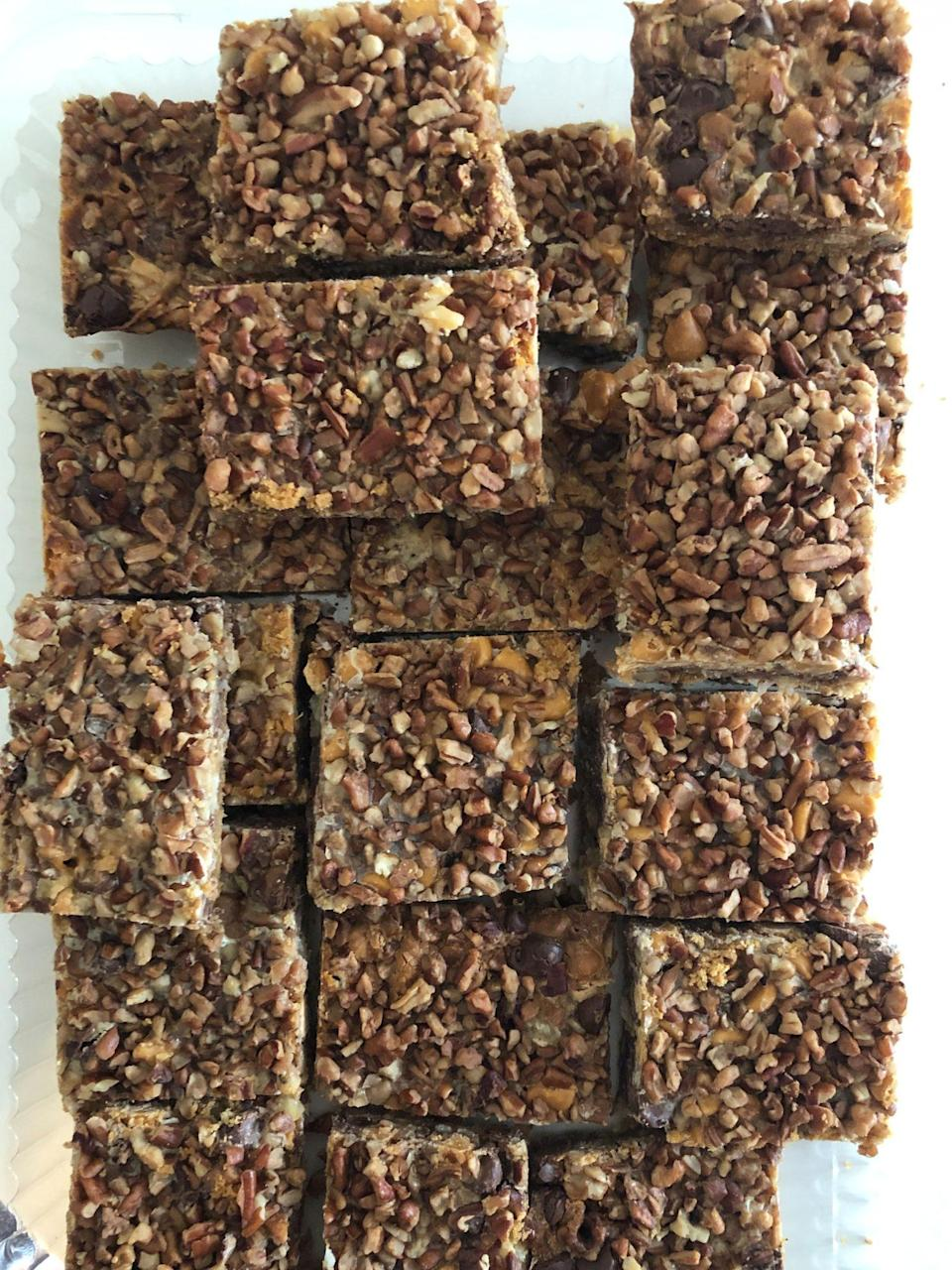 """<p><strong>Recipe: <a href=""""https://www.southernliving.com/recipes/7-layer-cookies"""" rel=""""nofollow noopener"""" target=""""_blank"""" data-ylk=""""slk:Seven-Layer Cookies"""" class=""""link rapid-noclick-resp"""">Seven-Layer Cookies</a></strong></p> <p>These sweet and rich cookies come together in a flash, making them the ultimate last-minute dessert.</p>"""