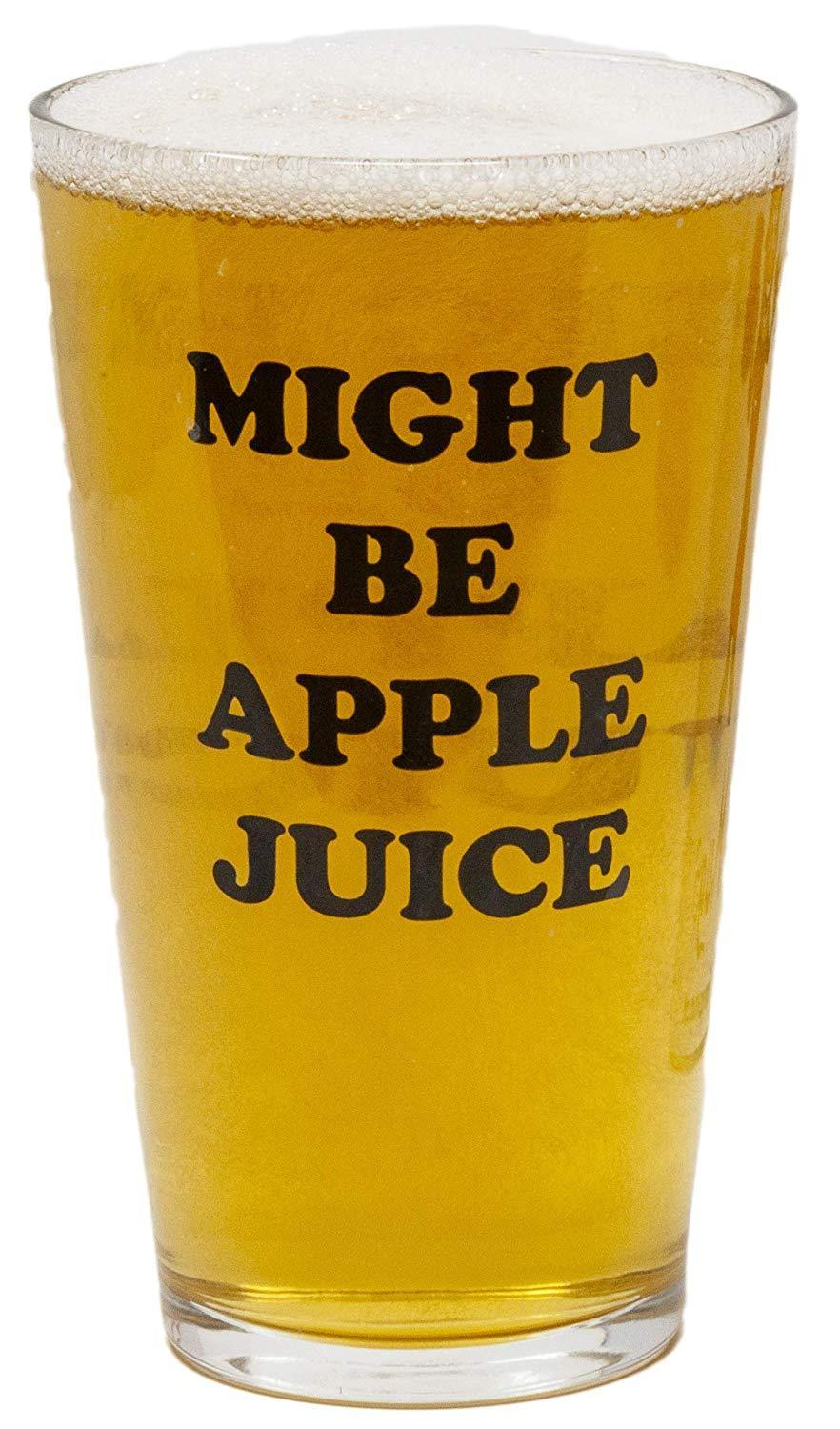 """Is it covert Motts or a pint of Coors Light? The world may never know.<br><br><strong>Funny Guy Mugs</strong> Might Be Apple Juice 16 Oz Pint Glass, $, available at <a href=""""https://amzn.to/38pQhvp"""" rel=""""nofollow noopener"""" target=""""_blank"""" data-ylk=""""slk:Amazon"""" class=""""link rapid-noclick-resp"""">Amazon</a>"""