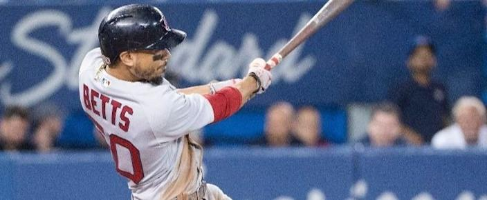 Mookie Betts homers against the Toronto Blue Jays.