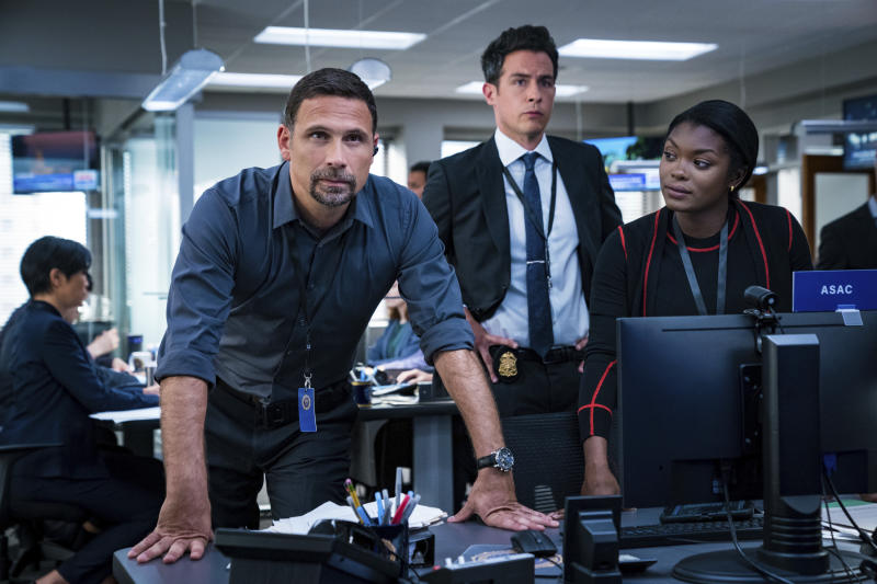 """This image released by CBS shows  Jeremy Sisto, John Boyd and Ebonée Noel in a scene from """"FBI.""""  Sisto portrays Jubal Valentine, FBI assistant special agent-in-charge, in the CBS hit show. (Mark Schafer/CBS via AP)"""
