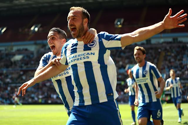 "<a class=""link rapid-noclick-resp"" href=""/soccer/players/glenn-murray/"" data-ylk=""slk:Glenn Murray"">Glenn Murray</a> helped lift Brighton & Hove Albion into the Premier League, but can they stay there? (Getty)"