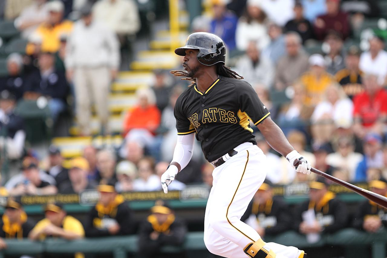BRADENTON, FL - MARCH 7: Andrew McCutchen #22 of the Pittsburgh Pirates hits a double during the 1st inning of a spring training game against the Minnesota Twins on March 7, 2014 at McKechnie Field in Bradenton, Florida. (Photo by Brian Blanco/Getty Images)