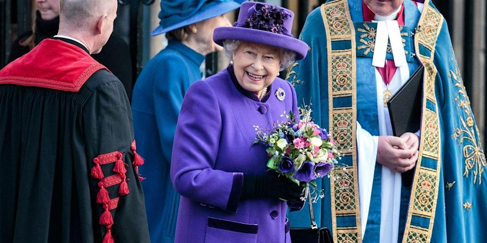 <p>For Commonwealth Day, she wore a lovely purple coat and hat while holding a small bouquet.</p>