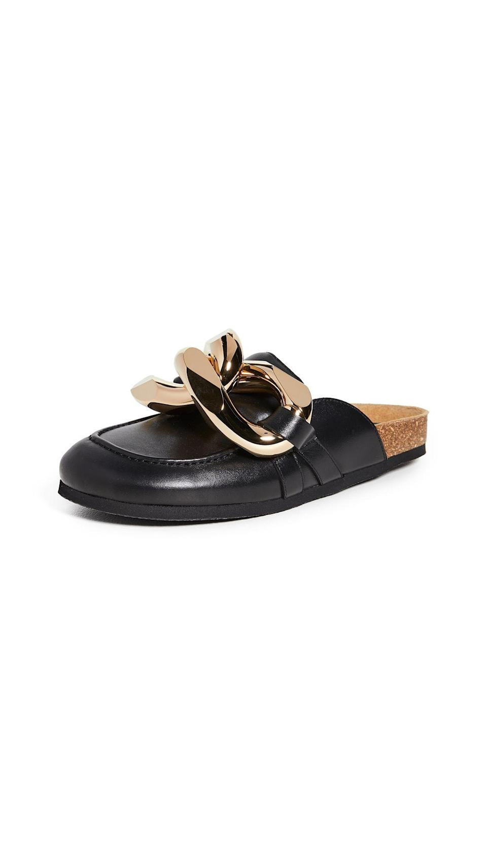 """<p><strong>JW Anderson</strong></p><p>shopbop.com</p><p><strong>$640.00</strong></p><p><a href=""""https://go.redirectingat.com?id=74968X1596630&url=https%3A%2F%2Fwww.shopbop.com%2Fchain-loafer-jw-anderson%2Fvp%2Fv%3D1%2F1561106422.htm&sref=https%3A%2F%2Fwww.marieclaire.com%2Ffashion%2Fg27205502%2Fcomfortable-walking-sandals-women%2F"""" rel=""""nofollow noopener"""" target=""""_blank"""" data-ylk=""""slk:SHOP IT"""" class=""""link rapid-noclick-resp"""">SHOP IT</a></p><p>When you want to look polished and sophisticated, slip into these JW Anderson loafers. They have a comfortable cork sole and a polished chain across the front that gives them day-to-night appeal.</p>"""