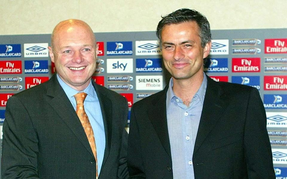 Peter Kenyon with Jose Mourinho on arriving at Chelsea - PA