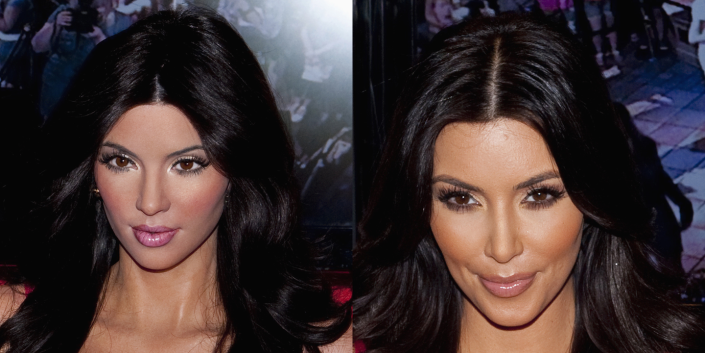 <p>Say what you will about the real Kim's heavily contoured face, her eyes are not crossed and her hairline sits a little higher than that. At least they kind of got the hair right? </p>