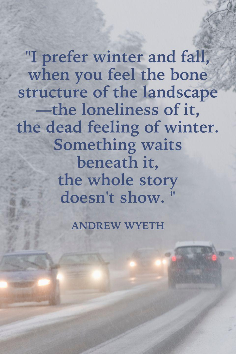 "<p>""I prefer winter and fall, when you feel the bone structure of the landscape—the loneliness of it, the dead feeling of winter. Something waits beneath it, the whole story doesn't show.""</p>"
