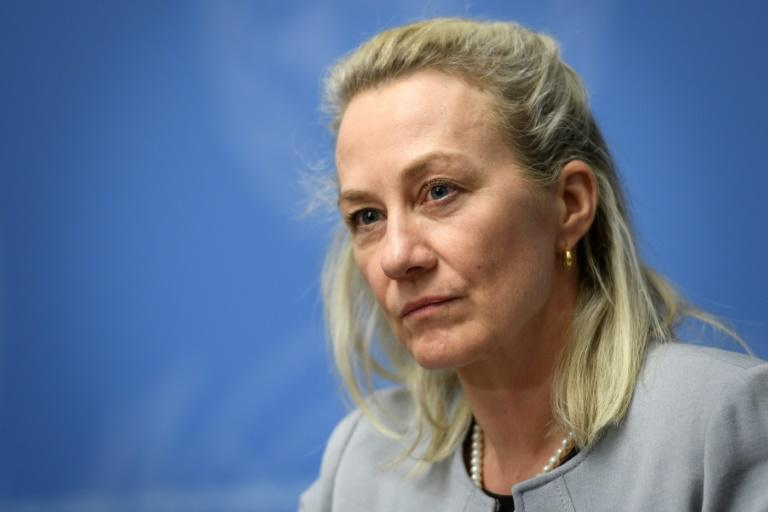Alice Wells, the acting top US diplomat for South and Central Asia, speaks at a UN conference on Afghanistan in Geneva in November 2018 (AFP Photo/Fabrice COFFRINI)