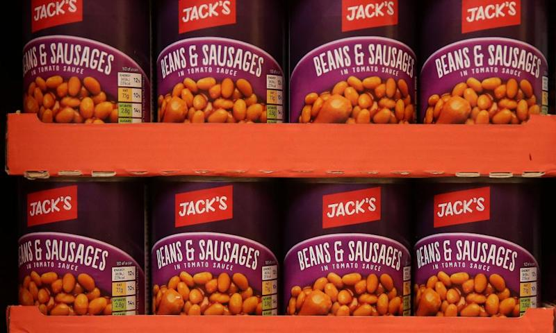 Cans of baked beans and sausages