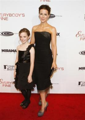 "Actress Kate Beckinsale and her daughter Lily Mo Sheen at the premiere of ""Everybody's Fine"" in New York, December 3, 2009."