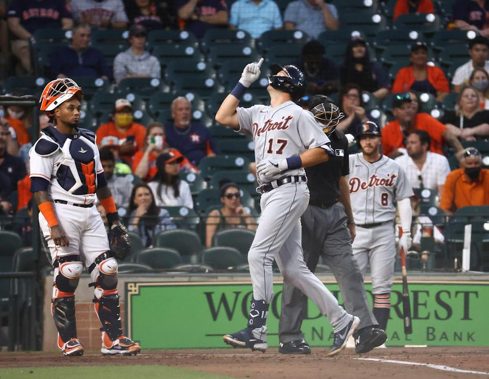 Astros catcher Martin Maldonado looks on as Tigers catcher Grayson Greiner crosses home plate after hitting a home run during the second inning of the Tigers' 6-2 win on Monday, April 12, 2021, in Houston.