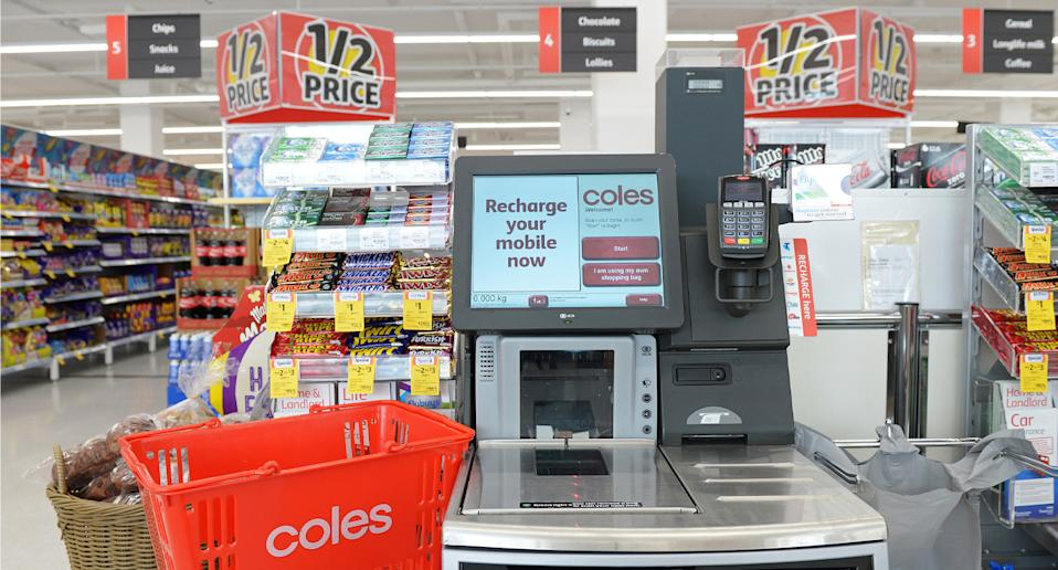 Cameras at Coles self service checkouts replay live footage back to customers. Source: Getty Images