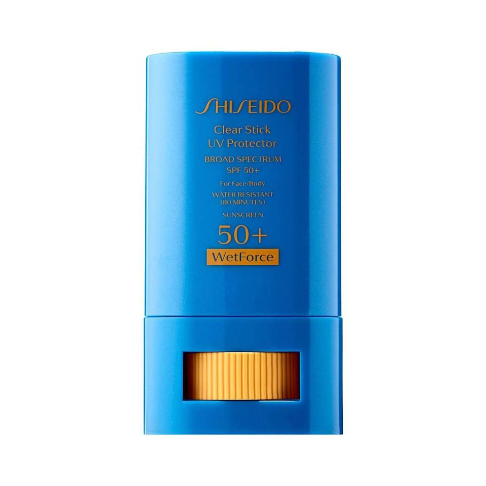 No longer will you need to lug around heavy bottles of sunscreen on outdoor excursions. The lightweight, portable Shiseido Clear Stick UV Protector WetForce SPF 50+ stick provides a hefty dose of SPF 50, and it's water- and sweat-resistant to boot. What's more, this formula is totally transparent, so it's easy to reapply sans mirror (a feature that comes in handy whether you're trekking to the top of a mountain or, ya know, lounging at the beach).