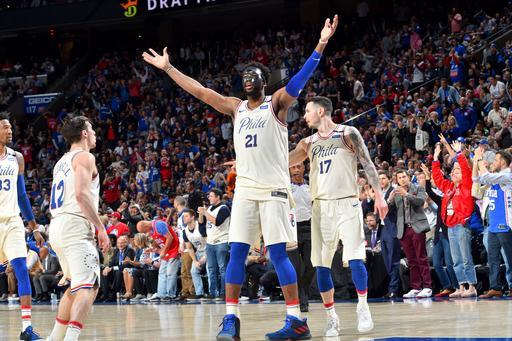 PHILADELPHIA, PA - APRIL 24: Joel Embiid #21 of the Philadelphia 76ers reacts during the game against the Miami Heat in Game Five of Round One of the 2018 NBA Playoffs on April 24, 2018 at Wells Fargo Center in Philadelphia, Pennsylvania. (Photo by Jesse D. Garrabrant/NBAE via Getty Images)