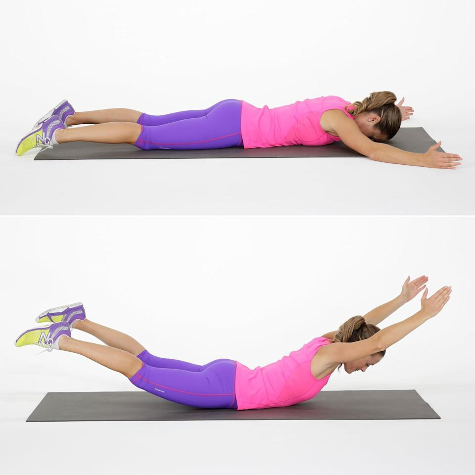 """<p>The arch up, also known as the <a href=""""https://www.popsugar.com/fitness/How-Do-Superman-Exercise-1110085"""" class=""""link rapid-noclick-resp"""" rel=""""nofollow noopener"""" target=""""_blank"""" data-ylk=""""slk:Superman"""">Superman</a>, works your <a href=""""https://www.popsugar.com/fitness/Posterior-Core-Exercises-45959183"""" class=""""link rapid-noclick-resp"""" rel=""""nofollow noopener"""" target=""""_blank"""" data-ylk=""""slk:posterior core muscles"""">posterior core muscles</a>.</p> <ul> <li>Lie face down on your stomach with your arms and your legs extended. Keep your neck in a neutral position.</li> <li>Keeping your arms and legs straight (but not locked) and torso stationary, simultaneously lift your arms and legs up toward the ceiling to form an elongated """"U"""" shape with your body: back arched and arms and legs lifted several inches off the floor.</li> <li>Hold for two seconds, and lower back down to complete one rep.</li> <li>Carey recommends doing 25 to 30 reps.</li> </ul>"""