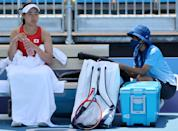 <p>Nao Hibino of Team Japan attempts to cool down between games during her Women's Singles First Round match against Nina Stojanovic of Team Serbia on day one of the Tokyo 2020 Olympic Games at Ariake Tennis Park on July 24, 2021 in Tokyo, Japan. (Photo by Clive Brunskill/Getty Images)</p>