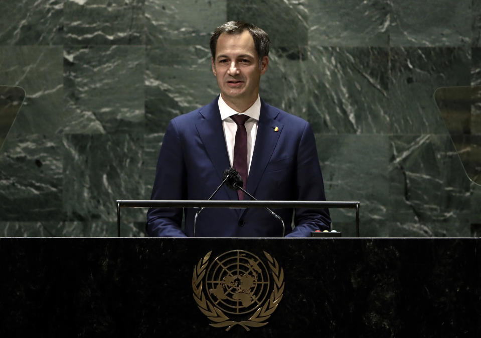 FILE - In this Friday Sept. 24, 2021 file photo, Belgium's Prime Minister Alexander de Croo addresses the 76th session of the United Nations General Assembly, at UN headquarters. As Europe's economic powerhouse Germany embarks on the task of piecing together a new ruling coalition after the knife-edge election on Sunday Sept. 26, 2021, the country need only look to its neighbors, Belgium and the Netherlands, to see how tricky the process can be. Belgium Prime Minister Alexander De Croo's government was formed on Oct. 1, 2020, ending almost 500 days of talks, caretaker cabinets and a minority coalition rubber stamped to see the country through the start of the COVID pandemic. (Peter Foley/Pool Photo via AP)