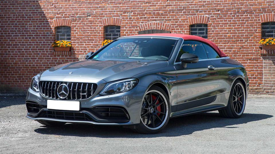 """<p><strong>Score: 6.6 / 10</strong></p> <p>We love the <a href=""""https://www.motor1.com/reviews/423882/2020-mercedes-amg-c63s-convertible-review/"""" rel=""""nofollow noopener"""" target=""""_blank"""" data-ylk=""""slk:Mercedes-AMG C63 S Cabriolet"""" class=""""link rapid-noclick-resp"""">Mercedes-AMG C63 S Cabriolet</a> for one reason and one reason alone: that twin-turbocharged 4.0-liter V8. With 503 horsepower and 516 pound-feet in the """"S"""" model, the C63 Cabriolet is like a droptop rocket ship on wheels. But the AMG also gets high marks in safety, even though that equipment is a pricey extra, and it does look nice. The AMG C63 S Cabriolet gets 6.6 out of 10 stars on our scale.</p> <br><a href=""""https://www.motor1.com/reviews/423882/2020-mercedes-amg-c63s-convertible-review/"""" rel=""""nofollow noopener"""" target=""""_blank"""" data-ylk=""""slk:2020 Mercedes-AMG C63 S Cabriolet Review: The Fast And The Frivolous"""" class=""""link rapid-noclick-resp"""">2020 Mercedes-AMG C63 S Cabriolet Review: The Fast And The Frivolous</a><br>"""