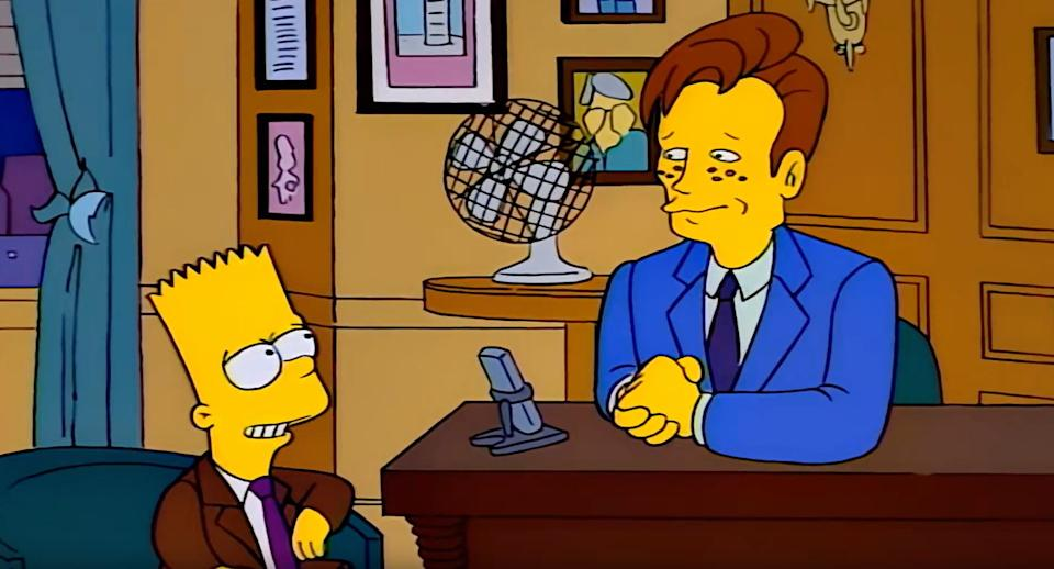 A year after Marge vs. The Monorail, Conan would return to The Simpsons, playing himself (Photo: Fox)