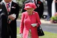 <p>The Queen's love of brights is well-known and rewearing this pink coat and hat from 2019 would make a bold statement for the 2021 event. (Adrian Dennis/AFP)</p>