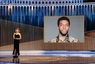 """Renee Zellweger announces the late Chadwick Boseman as winner of the Best Actor - Motion Picture Drama award for """"Ma Rainey's Black Bottom"""" in this handout photo from the 78th Annual Golden Globe Awards in Beverly Hills"""