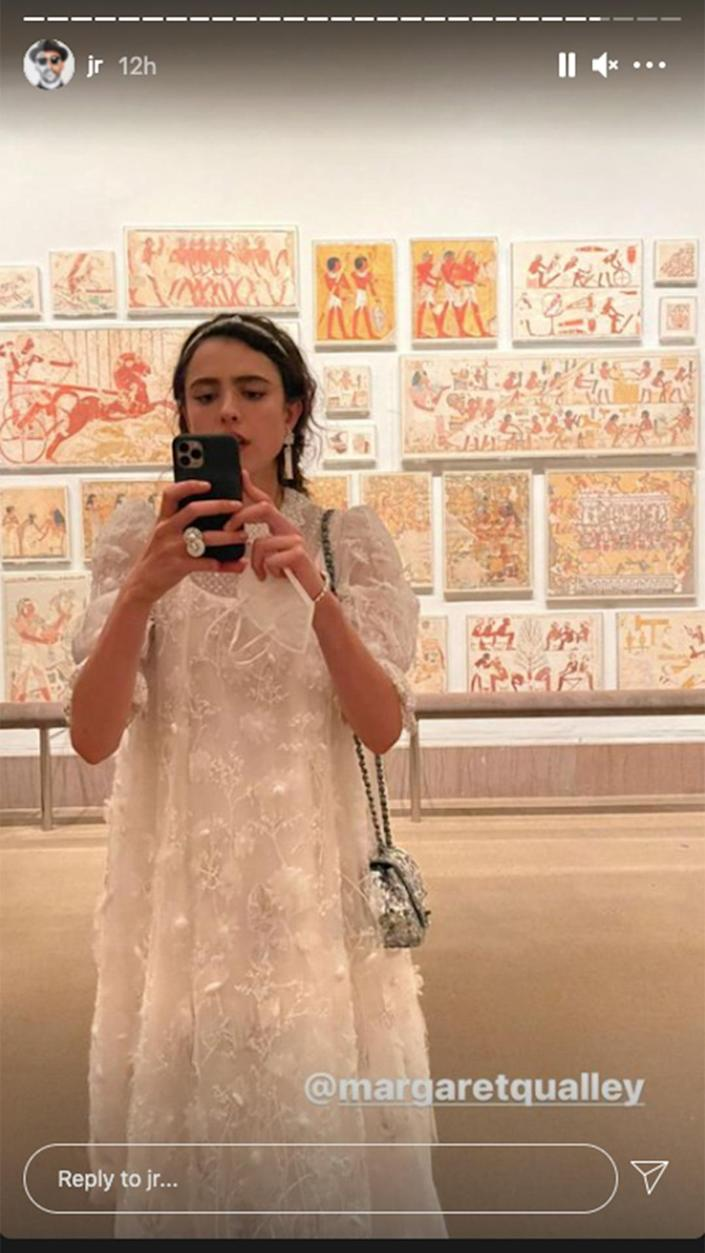 <p>Artist JR found Margaret Qualley among one of the Met's many exhibits. </p>