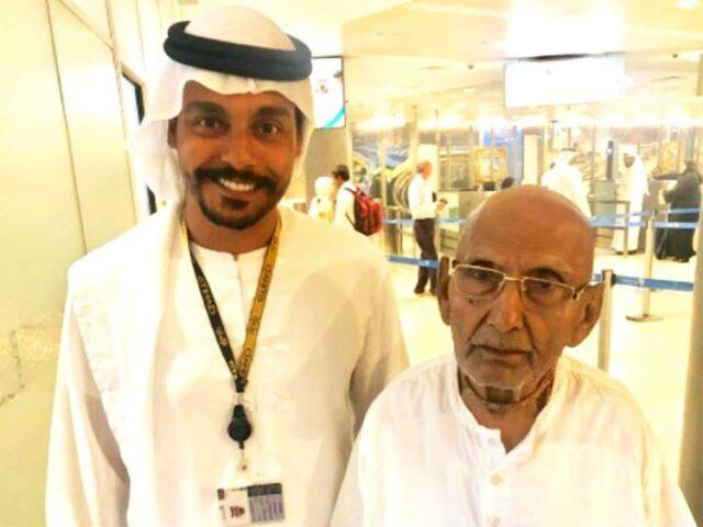 Officials at the Abu Dhabi airport clicked pictures with him on his way to Kolkata, after they got to know about his age!
