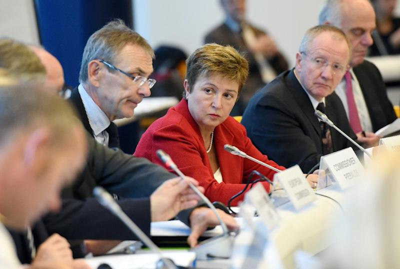 European Commissioner for International Cooperation, Humanitarian Aid and Crisis Response Kristalina Georgieva (C) attends a meeting to coordinate EU aid to help fight the Ebola outbreak in Africa, September 15, 2014, in Brussels (AFP Photo/Emmanuel Dunand)